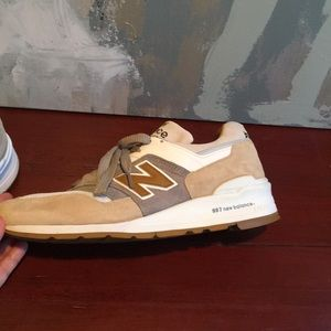 New Balance Shoes - New Balance 997 Sneakers Suede Tan Gray Mens 10